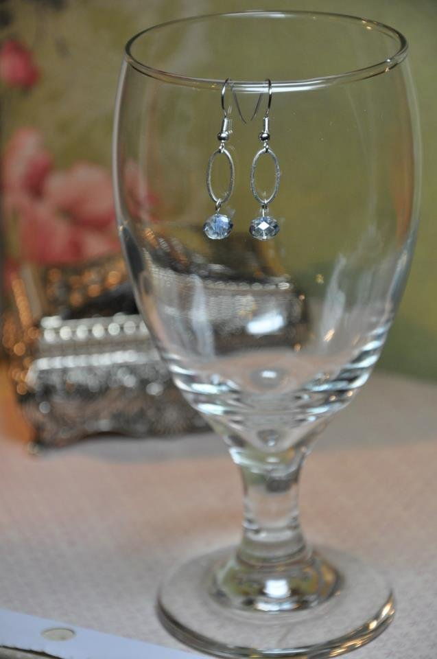 Unique Silver Oval Hoop With Blue Crystal Bead Dangle Earrings