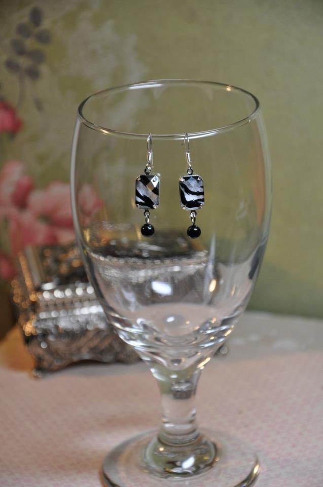 Handmade Black Zebra Charm Drop Bead Earrings