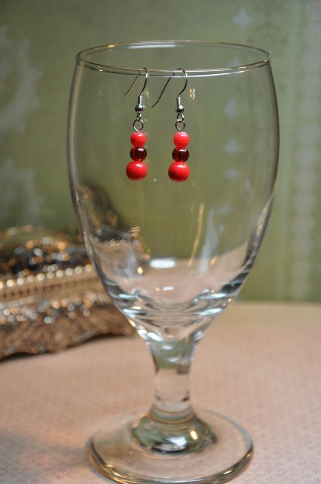 Red Drop Faux Glass Pearl Earrings