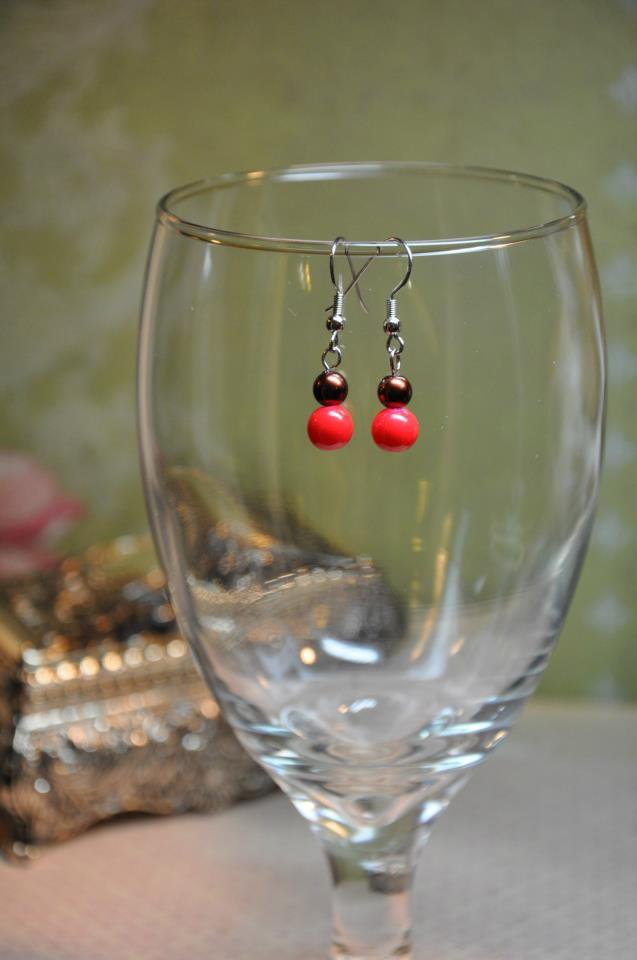 Red and Brown Faux Glass Pearl Drop Earrings