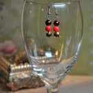 Shimmer Brown and Red Bead Drop Earrings