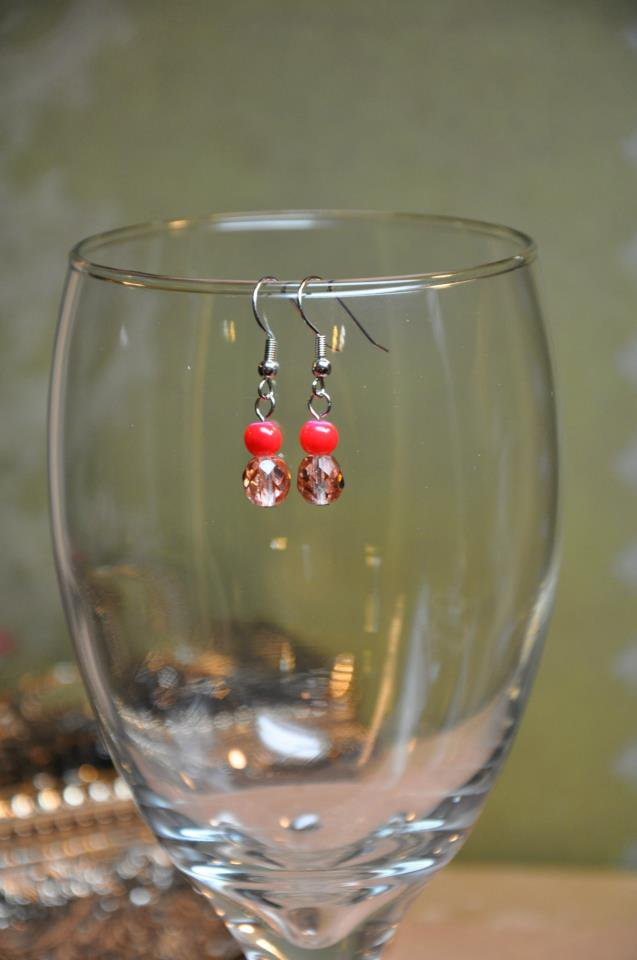 Faux Glass Corral Red and Brown Bead Drop Earrings