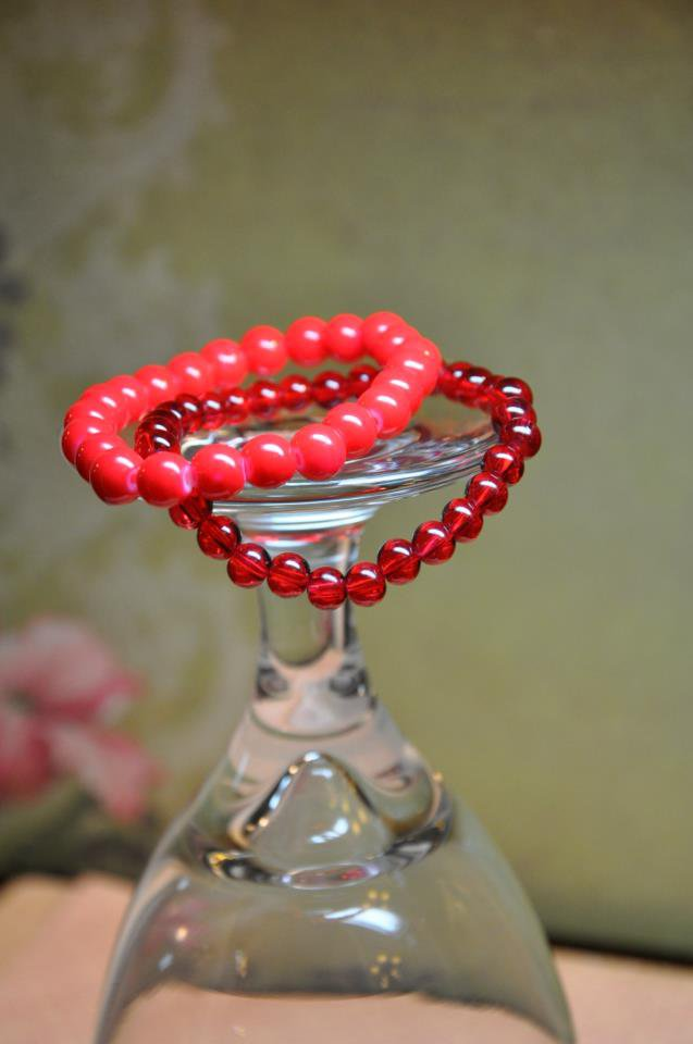 Red Stretchy Czech Glass Bead Bracelet Set of Two
