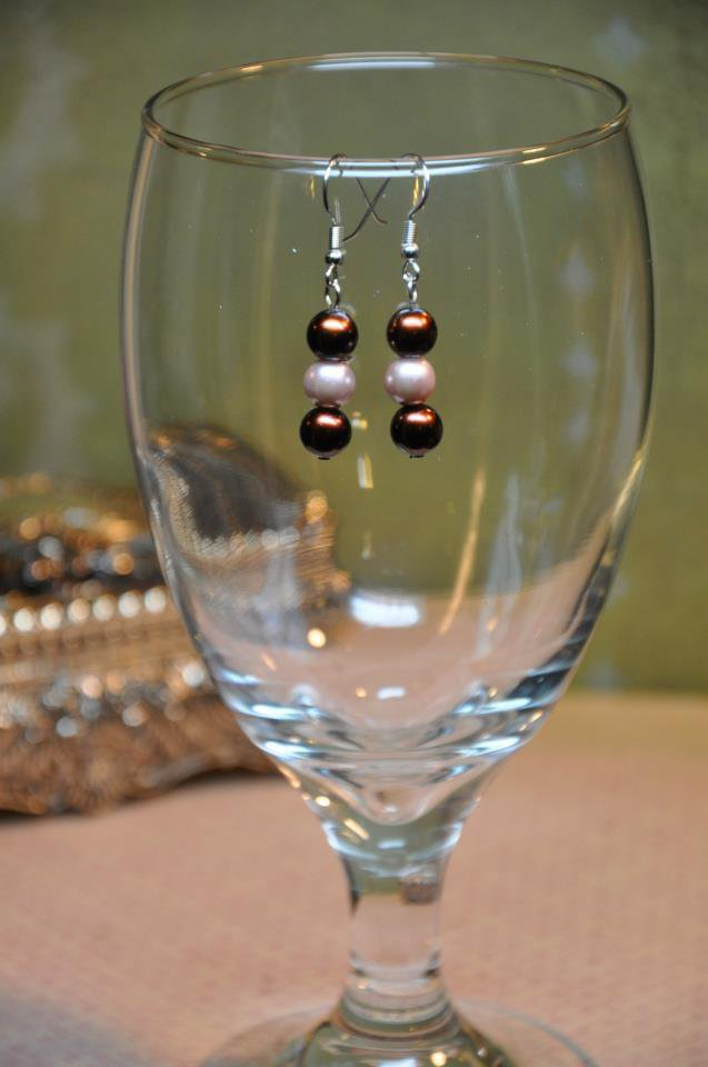 Simple Brown and Tan Faux Glass Pearl Drop Bead Earrings