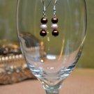 Simple Brown and Tan Faux Glass Pearl Drop Bead Earrings