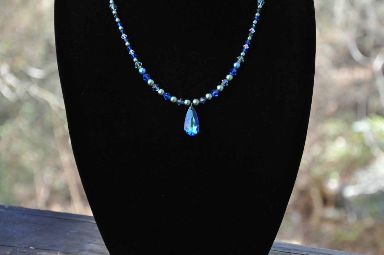 Unique Blue Bermuda Swarovski Crystal Pendant Handmade Necklace