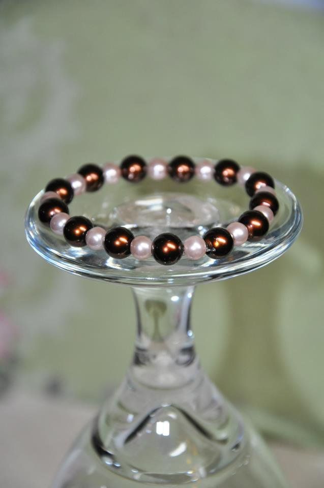 Brown and Tan Glass Faux Pearl Stretchy Bead Bracelet