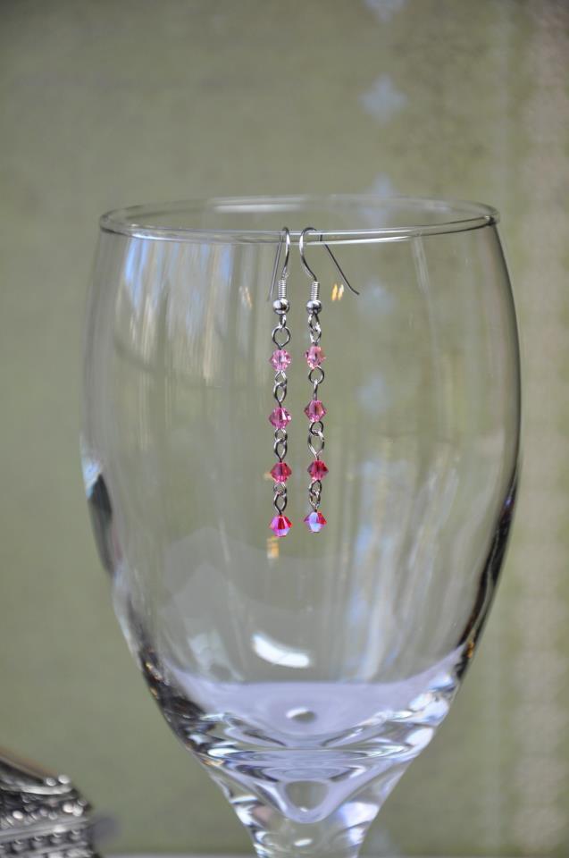 Pink Swarovski Bicone Chain Drop Earrings