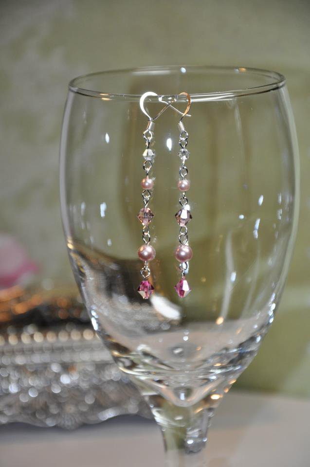Pink and Pearl Swarovski Crystal Drop Earrings