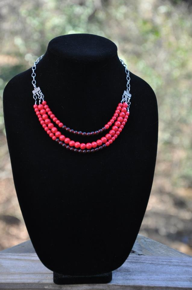 Three Strand Red Bead Statement Necklace