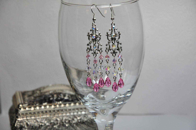 Handmade Pink Swarovski Crystals Chandelier Earrings