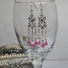 Handmade Pink Swarovski Crystals Chandelier Earrings