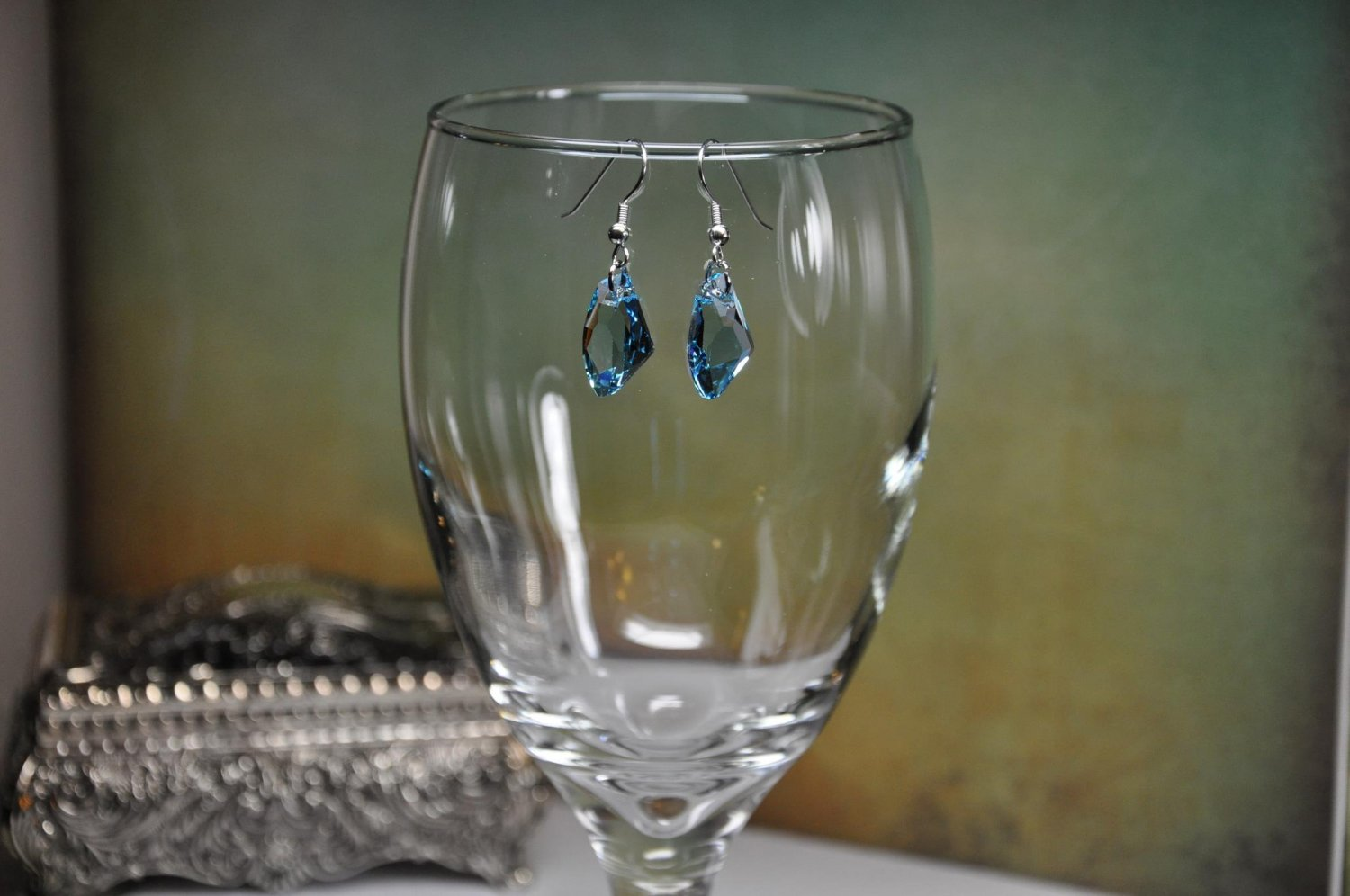 Blue Swarovski Crystal Pendant Drop Earrings