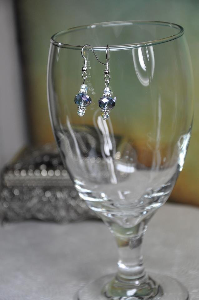 Silver Blue Antique Inspired Crystal Bead Drop Earrings