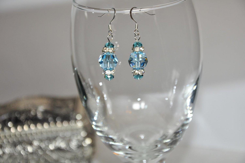 Chunky Blue Regal Crystal Swarovski Bead Drop Earrings