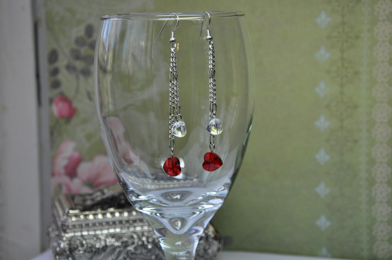 Swarovski Red Heart Crystal Chain Drop Bead Earrings