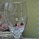 Swarovski Red Heart Crystal Chain Drop Bead Earrings