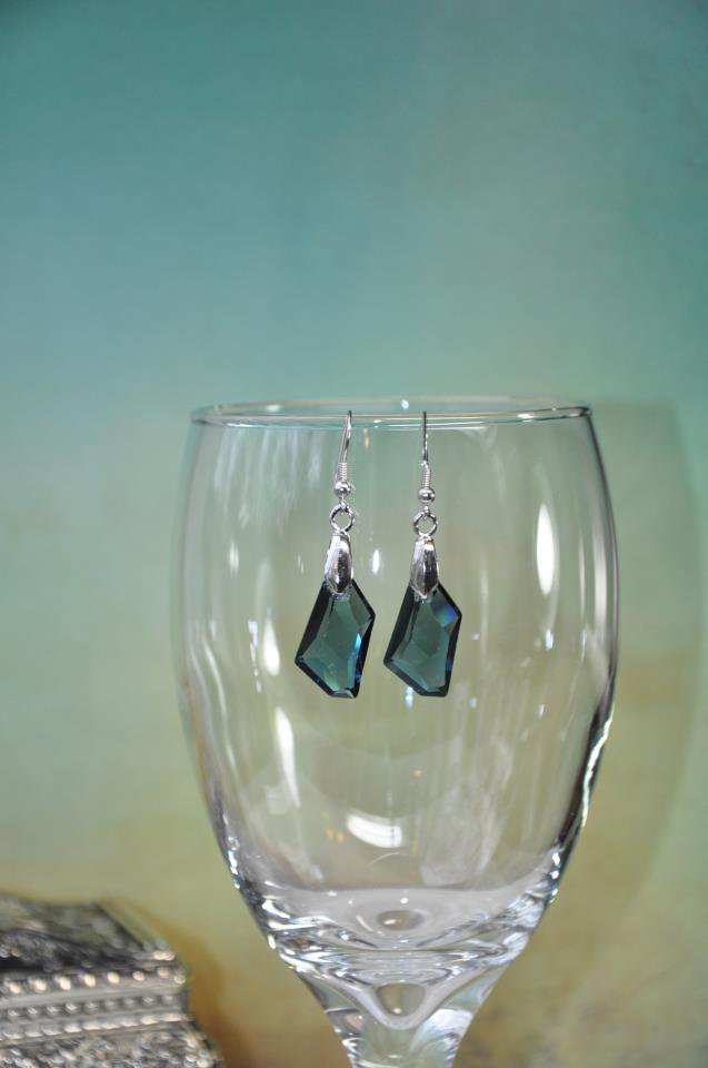 Denim Blue Swarovski Crystal Drop Earrings
