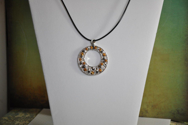 Orange with Silver Swarovski Crystal Pendant Necklace