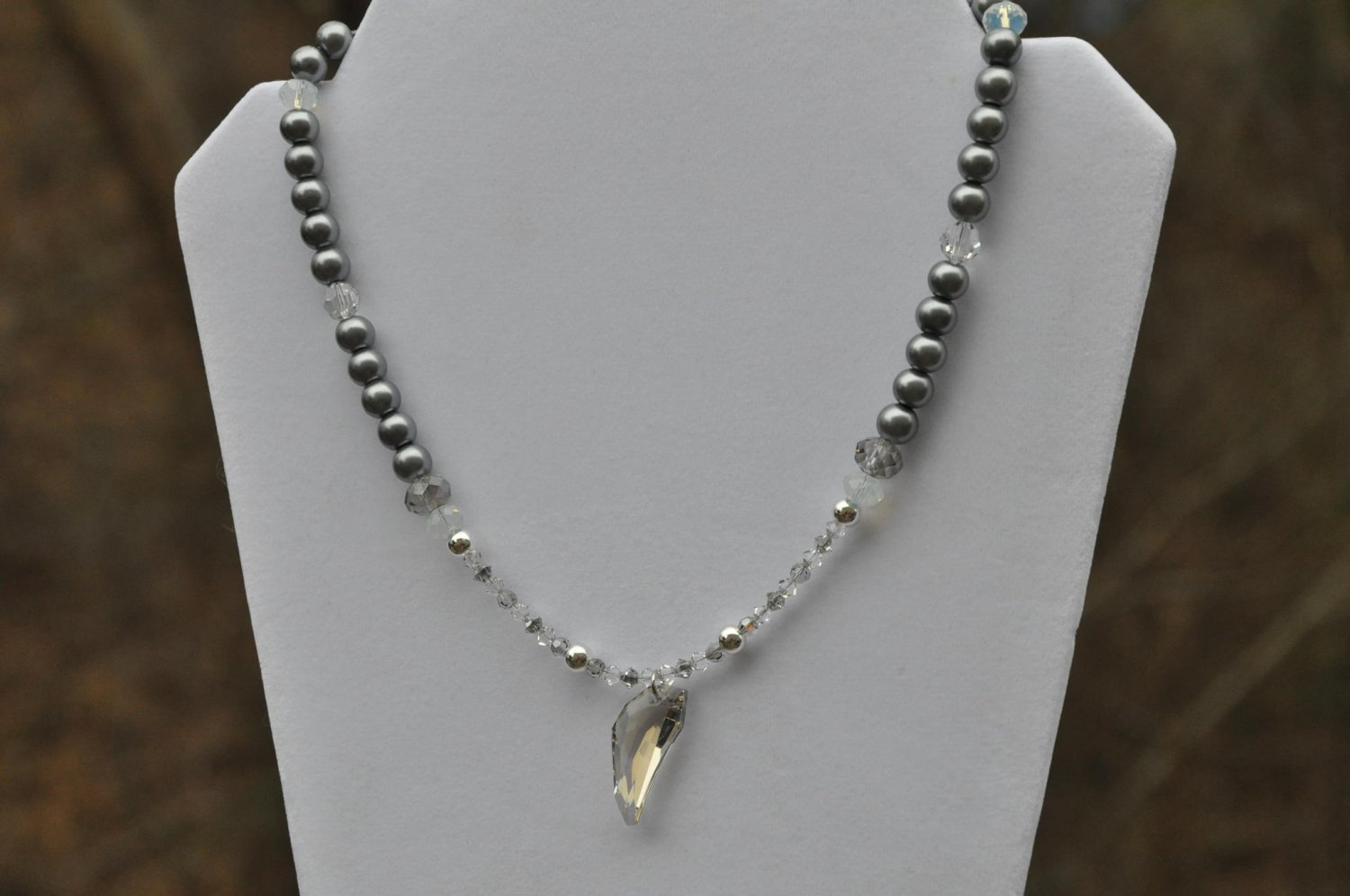 Grey and White Pearl Swarovski Crystal Pendant Necklace