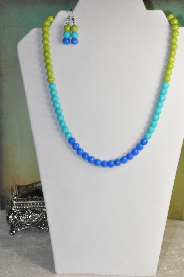 Blue Spring Bead Necklace Jewelry Set