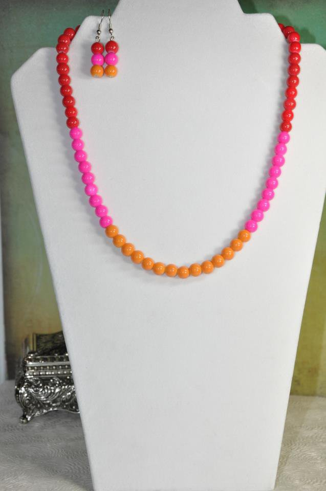 Pink Spring Bead Necklace Set