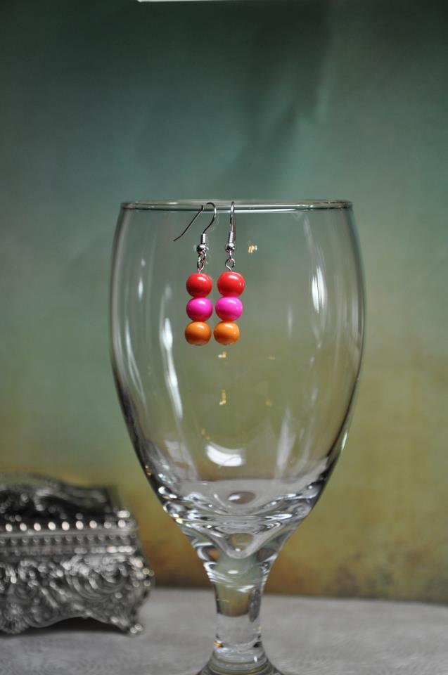 Pink Spring Bead Drop Earrings
