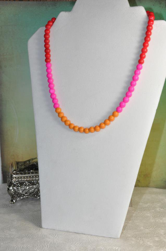 Unique Pink Red and Orange Spring Bead Necklace Handmade By Bead Studio Artist