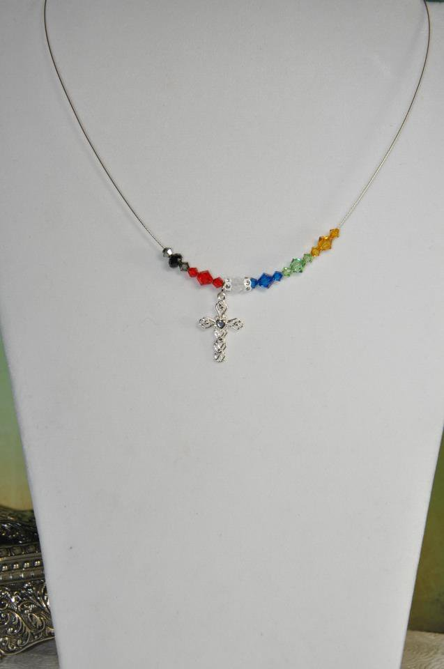 Unique Handmade Necklace by Studio Artist w Swarovski Crystals Sterling Silver Cross Charm
