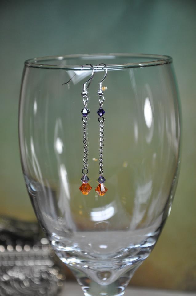 Clemson Inspired Colors Orange Swarovski Bicone Crystal Chain Drop Handmade Earrings by Bead Artist