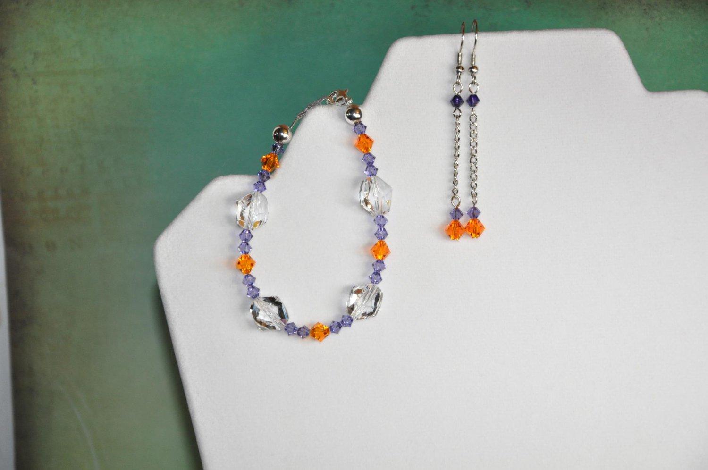 Clemson Inspired Colors Orange w Purple Swarovski Bicone Crystal Chain Earrings and Bracelet Set