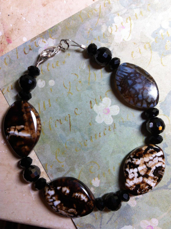 Natural Black and Brown Agate Gemstone Bead Set