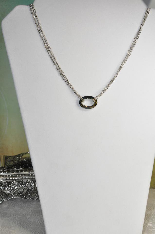 Swarovski Crystal Golden Green Cosmic Ring Pendant with Chain Necklace Handmade