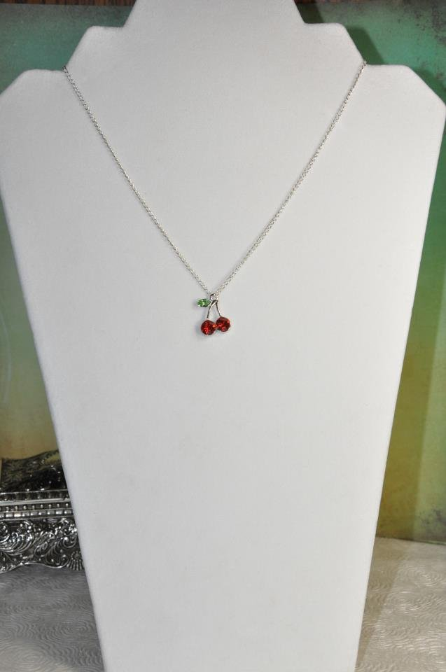 Dainty Red Cherry Crystal Charm Necklace On Silver Chain Handmade