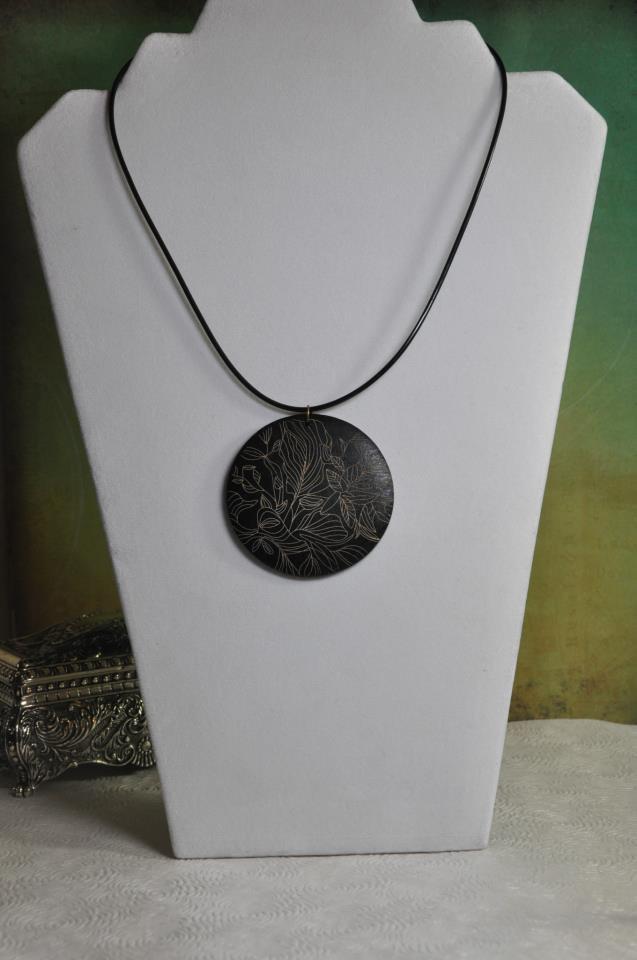 Black Wood Pendant Necklace