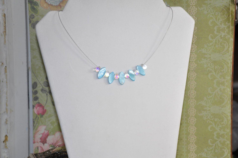 Light Blue Spikey Pearl Drop Gem Bead Necklace