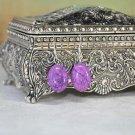 Natural Purple Turquoise Oval Gemstone Bead Earrings