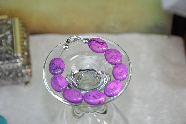 Natural Purple Turquoise Stone Bead Bracelet Handmade