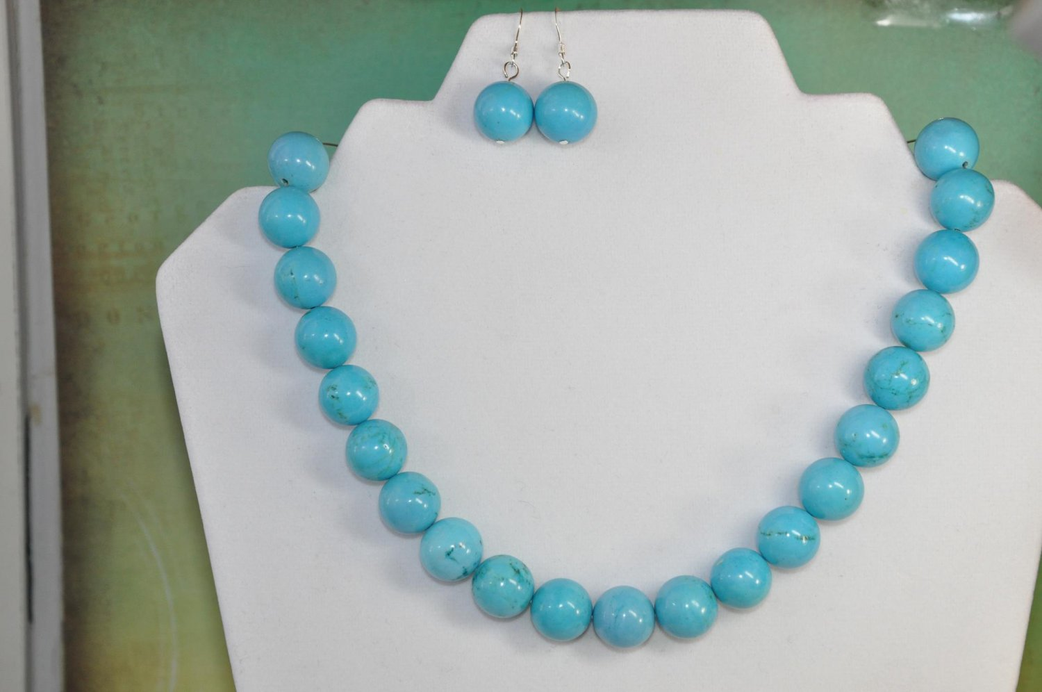 Natural Turquoise Gemstone Round Chunky Bead Set