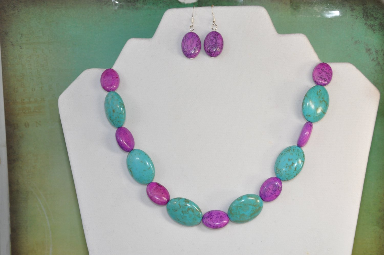 Natural Purple Turquoise Oval Gemstone Bead Jewelry Set Handmade