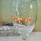 Orange and Light Brown Juicy Bead Crystal Chandelier Bead Earrings