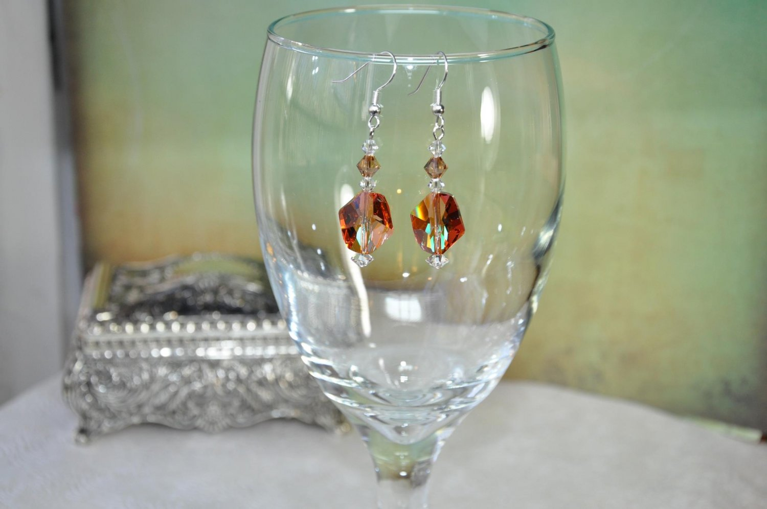 Handmade by Studio Artist Firey Orange Swarovski Helix Crystals Drop Bead Earrings