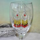 Handmade Red Gold and Yellow Swarovski Crystal Chandelier Bead Earrings