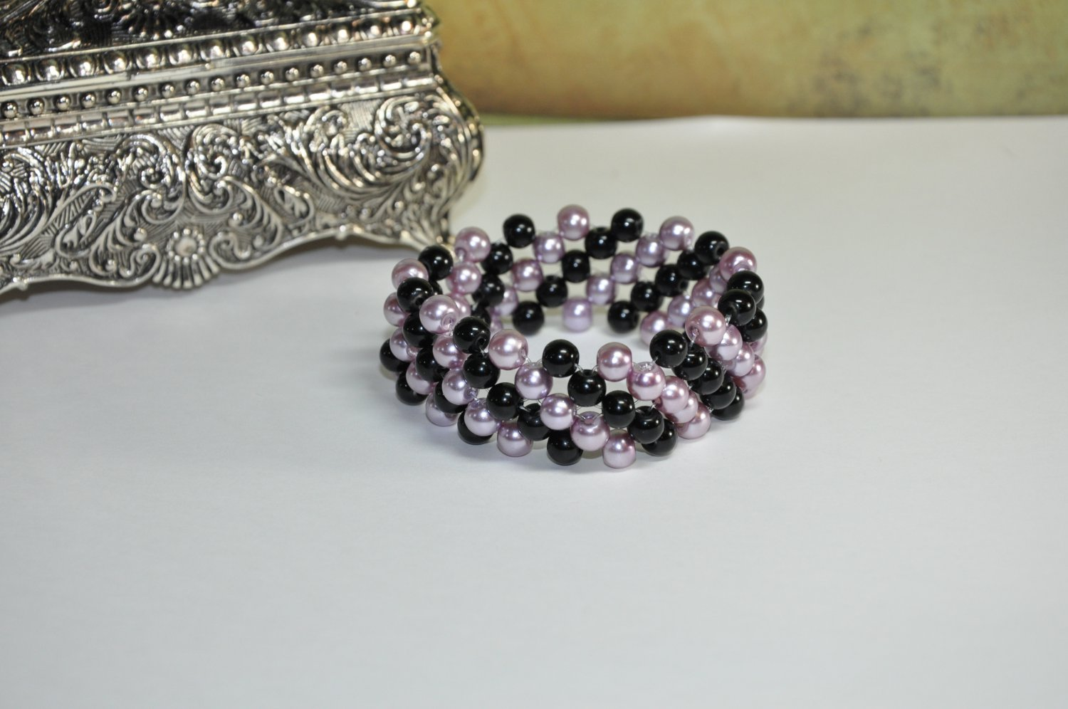 Handcrafted Bracelet by Studio Artist Black Purple Glass Pearls Stretchy Beaded Cuff