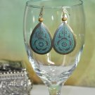 Chunky Oval Blue and Brown Flower Drop Bead Earrings
