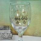 Handmade Earrings by Bead Artist Gold Flower Chandelier Hoops With Swarovski Crystals