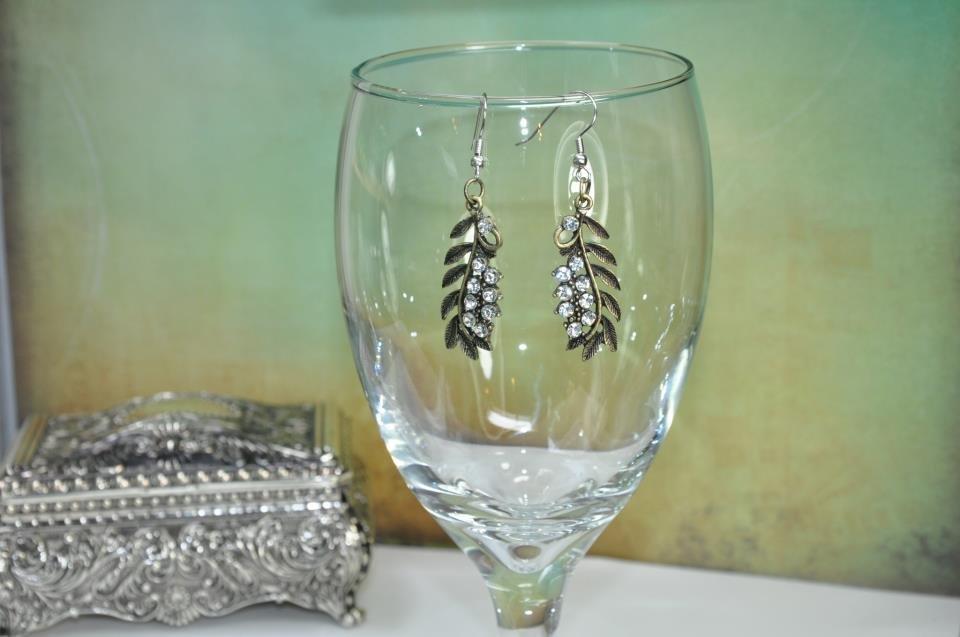 Gold Leaf Rhinestone Bead Drop Earrings
