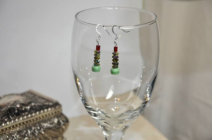 Green Christmas Trees With Red Beads Dangle Earrings Handmade