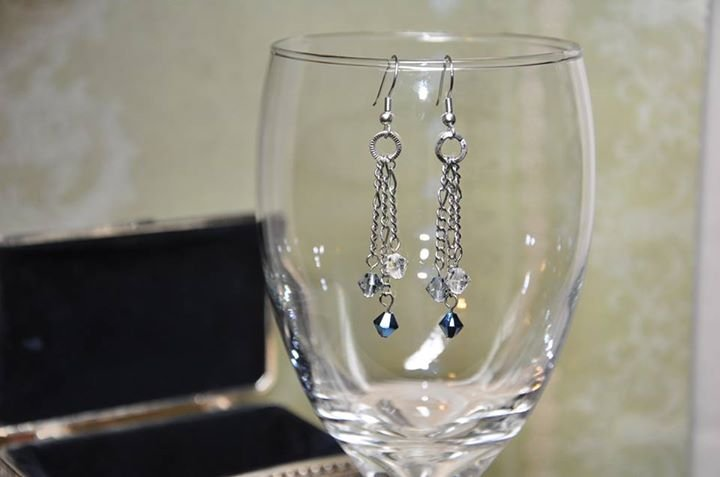 Swarovski Shades of Blue Crystals Dangle Chain Earrings Handmade by Studio Artist