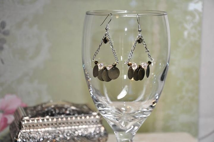 Bohemian Brown Swarovski Crystals Chandelier Earrings Handmade by Studio Bead Artist